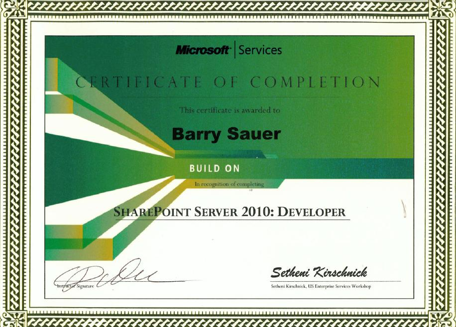 Barry Sauer Diploma and Certification Gallery